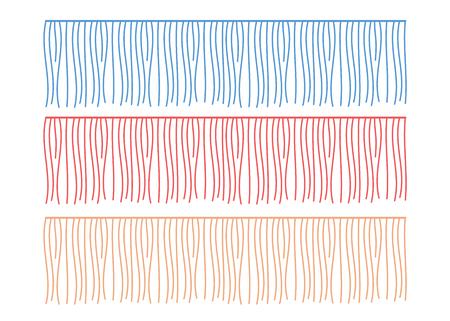 Fringe rows vector garments component. Brush border tassel, trim Illustration