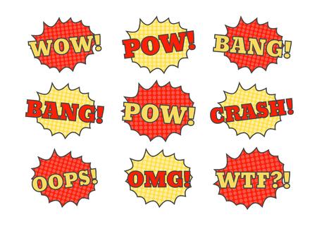 Comic speech bubbles. Pow bang crash vector cartoon bubbles