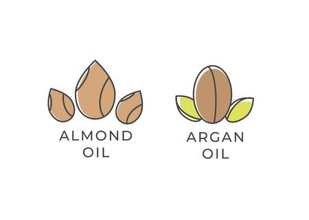 Icono de almendras y aceite de argán . Foto de archivo - 106005104