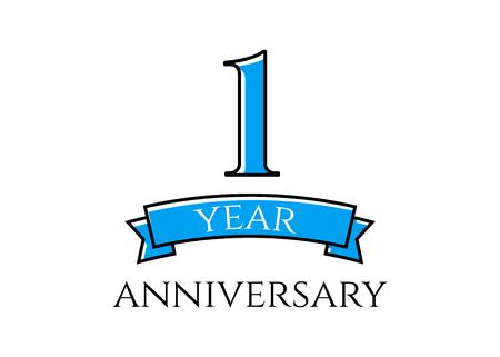 1st year anniversary vector Illustration