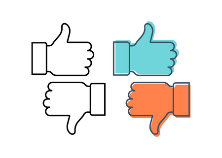 icon up thumbs. Like and dislike icon, flat design Stock Vector - 106301410