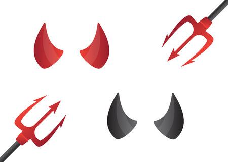 Red and black devil horns. Carnival concept devil horns Иллюстрация