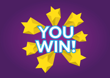 You Win vector card. Win stars background