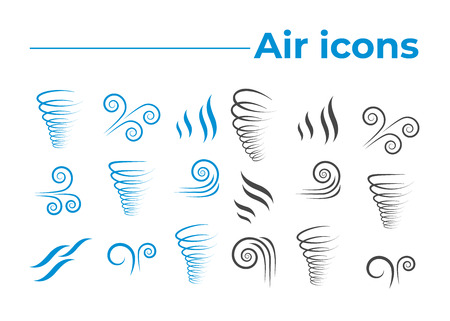 Wind icons nature, wave flowing, cool weather, climate and motion