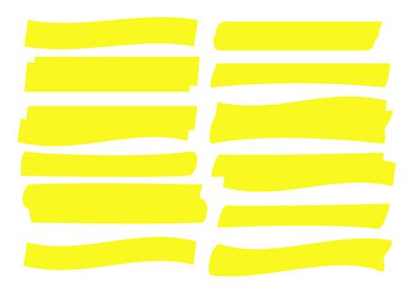 Yellow highlight marker lines. Highlighter strokes and drawing design. Ilustração Vetorial