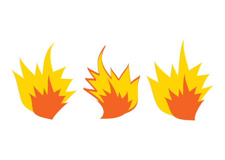 Fire icons, fire flame illustration set. Cartoon comic burst or explosion