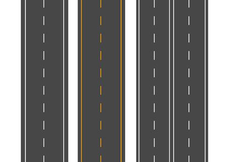 수평 도로. 거리 벡터도 평면입니다. 아스팔트 도로 표지판