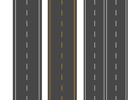 Horizontal roads. Street vector road flat. Asphalt road sign Ilustrace