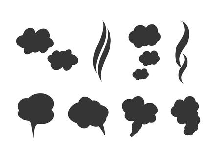 Smoke vector clouds. Fog and steam cartoon vector illustration