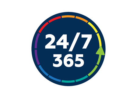 24 on 7 timing badge symbol. Time 365 vector sign