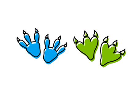 Dinosaur footprint tracks vector set illustration. Dinosaur footprint vector