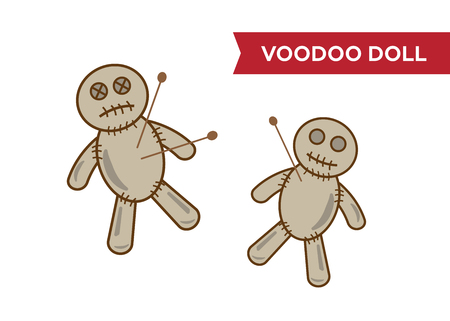 Halloween voodoo doll vector. Voodoo doll cartoon illustration