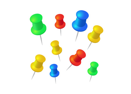 Push pins set. Stationery object, plastic element, tack and needle. Push pins