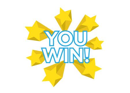 You Win vector card. Win stars background Vettoriali