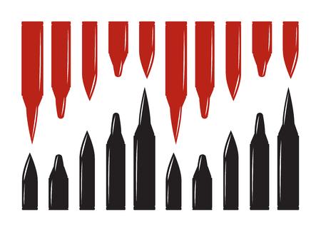 bullet holes set. Violence and crime, gunshot and military Illustration