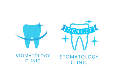 Dental and Stomatology labels with teeth