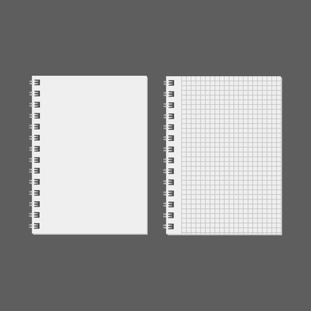 Blank realistic notebook. Diary notepad, paper page and notebook Stock Illustratie