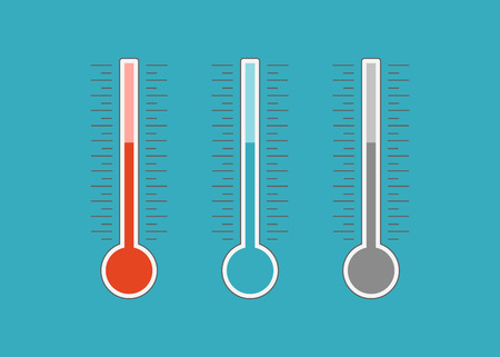 Meteorologiethermometer Wärme- und Kältevektor. Thermometer-Symbol heiß und kalt. Wetterthermometervektor
