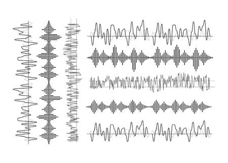 Sound waves set. Radio wave form vector Illustration