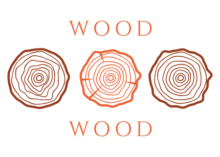 Vector tree rings. Wood texture vector. Abstract circle tree background  イラスト・ベクター素材