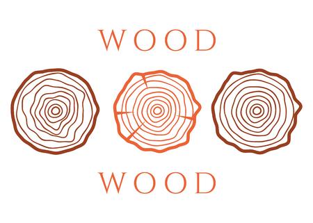 Vektorbaumringe. Holzbeschaffenheitsvektor. Abstrakter Kreisbaumhintergrund Vektorgrafik