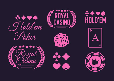 Poker club and casino vector sign set