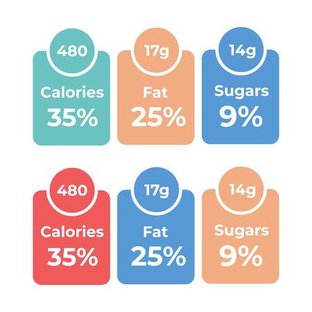 Labels calories ingredient information. Daily nutritional ingredient, calories Illustration