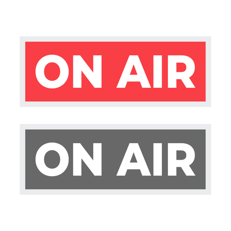 Broadcast studio on air light. On-air sign radio and television