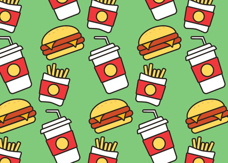 Fast food colorful flat design icons set. Hamburger and sandwich vector icons