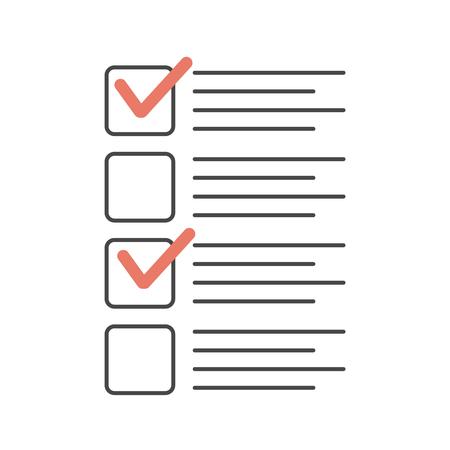 Checklist with tick marks. Check list exam vector illustration