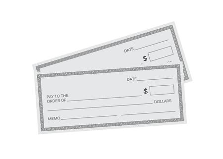 Blank check template. Check vector template. Banking check template Ilustração
