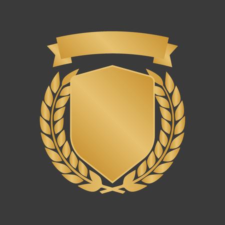 Collection de badges de laurier de boucliers dorés. Illustration vectorielle de médaille d'or. Vecteurs