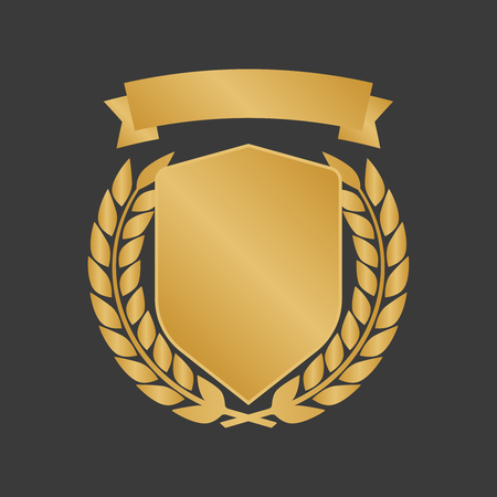 Golden shields laurel badges collection. Gold medal vector illustration.  イラスト・ベクター素材