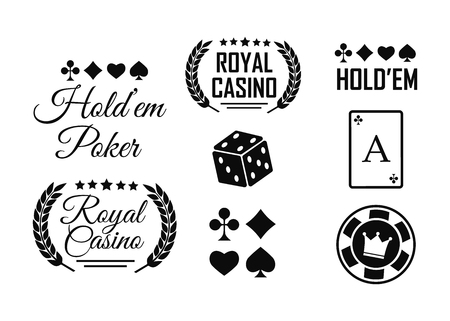 Casino vector sign set. Slot machine symbols vector 矢量图像