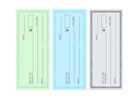 Blank check template. Check vector template. Banking check template Çizim