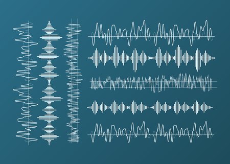 Sound wave forms. Music amplitude waveforms equalizer. Voice audio form