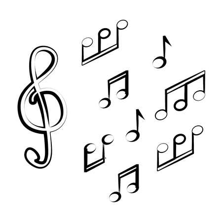 Set of music note doodle new vector illustration