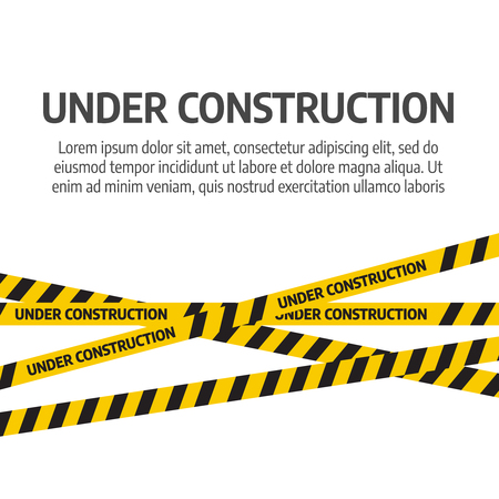 Under construction website page. Under construction tape warning banner vector
