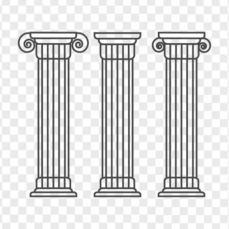 Filar grecki i rzymski. Zarys ilustracji wektorowych filaru. Architektura grecka kolumna ikona Ilustracje wektorowe