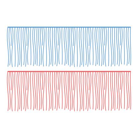 Composant de vêtements de vecteur de lignes de franges. Pompon de bordure de brosse, garniture Vecteurs