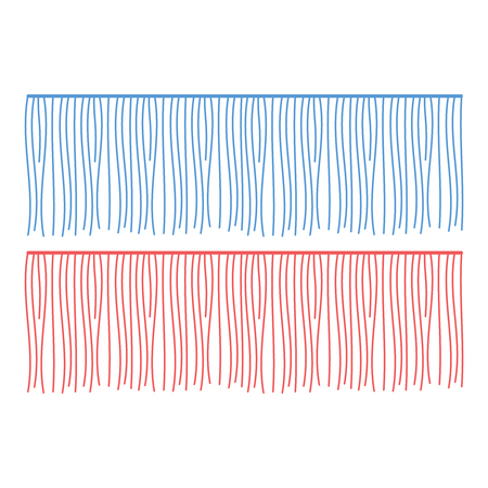 Fringe rows vector garments component. Brush border tassel, trim 矢量图像