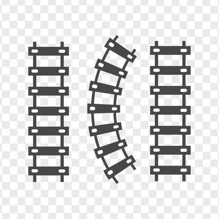 Railroad train tracks vector. Train tracks railroad icon Vector Illustratie