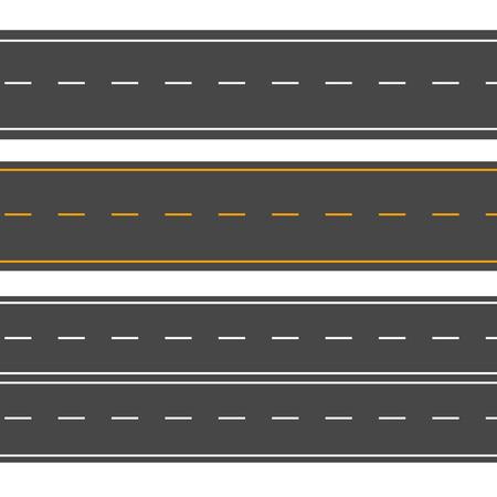 Carreteras horizontales. Calle vector camino plano. Señal de carretera de asfalto Ilustración de vector
