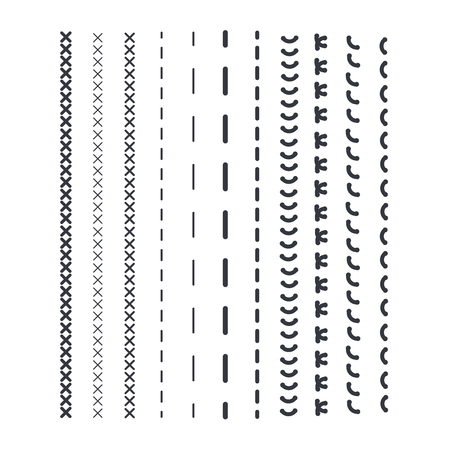 Detail Stitched Vector Patterns. Sewing Seams Pattern. Lizenzfrei ...
