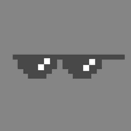 d53a0e91d11 Funny pixelated sunglasses. 8bit style sunglasses vector icon