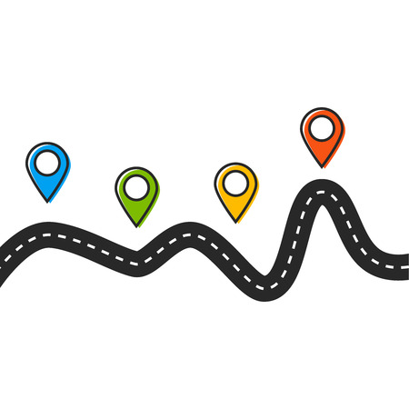 Road trip and journey route. Road vector map
