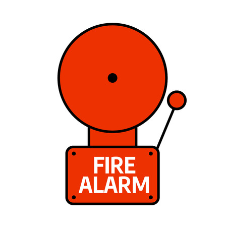 Fire alarm system. Red alarm vector illustration