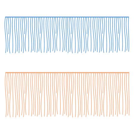 Fringe rows vector garments component. Brush border tassel, trim