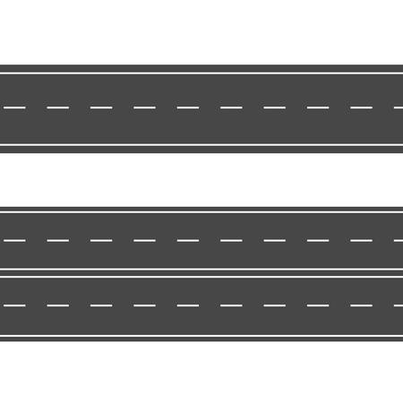 Carreteras horizontales. Calle vector camino plano. Señal de carretera de asfalto