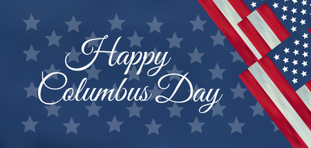 USA Columbus Day celebrate banner with Columbus Ship. Lettering text Happy Columbus Day